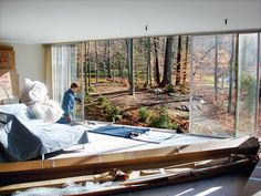 During renovation.  1957 home of architect Arthur Witthoefft. This 25' x 95' home was built of brick, steel and wall to wall to ceiling glass on the backside of this modern home.
