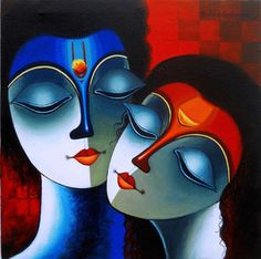 Divine of Love - Painting by Santosh Chattopadhyay