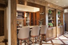 Rustic Modern Interior Design Basement Bar -Design One Interiors
