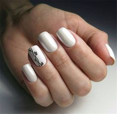 Want some ideas for wedding nail polish designs? This article is a collection of our favorite nail polish designs for your special day. Square Acrylic Nails, White Acrylic Nails, White Nails, Pink Nails, My Nails, White Short Nails, Gradient Nails, Holographic Nails, Stiletto Nails