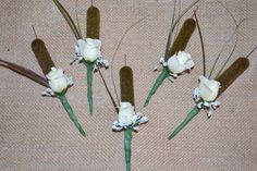 Camouflage Wedding Boutonnieres by SimplyCountryCrafts on Etsy, $42.00... I would use something other than a white rose... maybe a shotgun shell?