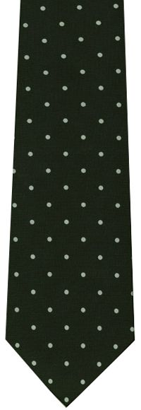 White On Dark Olive Green Printed Dot Silk Tie #1