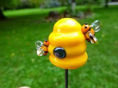Bee Hive fairy garden plant poker - by Kari's Beads
