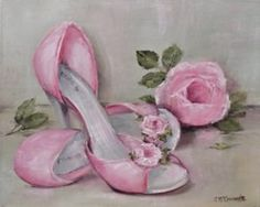 """Original Painting on Canvas -""""Rosy Shoes"""" - Postage is included Australia Wide"""