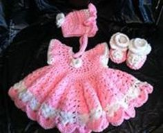 Adorable Crochet Baby Set: Adorable Baby Dress Set  Size-newborn to 3 months