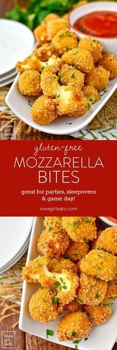 Gluten-Free Mozzarella Bites - Iowa Girl Eats - - Gluten-Free Mozzarella Bites are easy to whip up at home. These crispy, ooey-gooey bites are great for game day, kids' sleepovers, or anytime you're craving a cheesy treat! Gluten Free Appetizers, Gluten Free Snacks, Gluten Free Dinner, Foods With Gluten, Gluten Free Cooking, Appetizer Recipes, Party Appetizers, Avacado Appetizers, Prociutto Appetizers