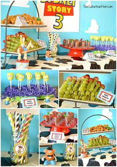 "These fabulous ideas will take your Toy Story birthday party to infinity and beyond! There may be no ""snake in [your] boots"", but these 21 Toy Story themed birthday party ideas will add pep to Toy Story Party, Fête Toy Story, Toy Story Food, Toy Story Crafts, Toy Story Theme, Story Story, Festa Toy Store, Cumple Toy Story, 4th Birthday Parties"