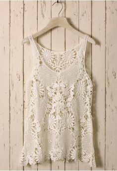 white floral crochet top.