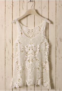 White Floral Crochet Top - Retro, Indie and Unique Fashion