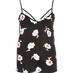 Black floral print strappy cami top £16.00