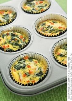 Egg & Spinach Quiche Cups:  10  ounces frozen chopped spinach 3/4 cup egg whites 3/4 cup shredded fat free cheese 1/4 cup red bell pepper, chopped 1/4 cup onion, chopped fine hot sauce (optional)  Microwave the spinach on high for 2 1/2 minutes. Drain completely. Line a 12 cup muffin tray with foil baking cups. Spray the cups with cooking spray. Combine the egg substitute, cheese, mushrooms, spinach and onions in a bowl. Add hot pepper to taste. Divide evenly among the cups. Bake at…