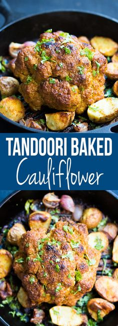 Easy tandoori whole baked cauliflower recipe which makes a stunning, healthy vegetarian main course!