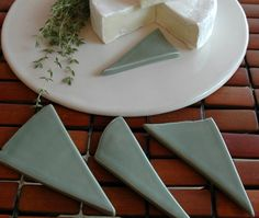 Set of 4 Artisan Cheese Markers  Ceramic Food by MudFirePottery