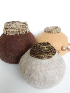 Vessels made from natural wool and hedge bindweed.  Summer 2015