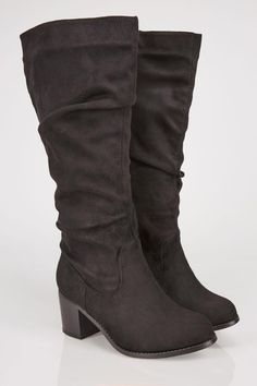 75e30220f449 Black Ruched Knee High Block Heel Boots With XL Calf Fitting In TRUE EEE Fit  Wide
