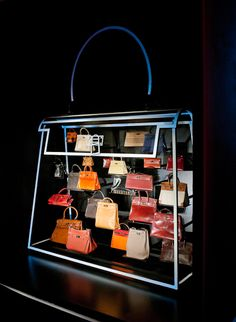 Hermes Leather Forever Exhibition handbag display at 6 Burlington Gardens London