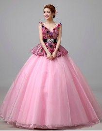 Gorgeous v-neck fuchsia printed peplum bodice flowers embellishment pink tulle ball gown wedding quincenera dresses WBD-101