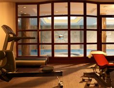 home gym and indoor pool