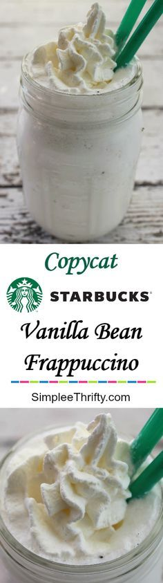 Copycat Starbucks Vanilla Bean These are not only delicious but I love that you don't have to break the bank to enjoy these awesome treats! Perfect treat on a hot summer day! Yummy Drinks, Healthy Drinks, Yummy Food, Fun Food, Frappuccino, Smoothie Drinks, Smoothie Recipes, Starbucks Vanilla, Starbucks Drinks
