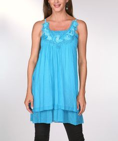 Look at this #zulilyfind! Turquoise Floral Crocheted Shirred Sleeveless Shift Top by Ananda's Collection #zulilyfinds
