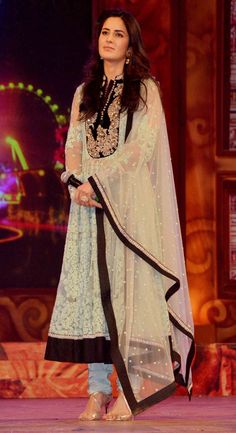 Katrina Kaif at the Umang Mumbai Police Show 2015. love the anarkali and the color