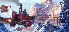 Airborn - Snowy port, Airborn Studios on ArtStation at https://www.artstation.com/artwork/e4drJ
