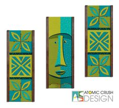 Happy Moai and Tiki Tapa Blossom, avocado & turquoise Decorator Art Ensembles. Mid Century inspired wall panels by Atomic Crush Design.