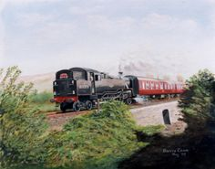 Original oil painting by Barrie Cann 80079 Railtour from Exeter St Davids to Barnstaple: Chapleton 1 May 1994 #oil #painting #railway #train #art #Barrie #Cann #barriecann