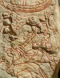 Viking picture stone with horse and animals (scene of a hunt). Sparlosa, Vastergotland (Sweden); 800 CE  Wee beastie embroidery