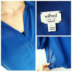 Aritzia Wilford Silk Blouse Stunning blue!! Sexy high-low design! Says XS, but could easily fit a sm/med too! 100% silk! Aritzia Tops Blouses