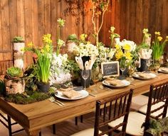 buffet rustic decor | Go rustic (my fav!) with your setup! Lots of moss, daffodils and other ...