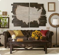 Pottery Barn inspired DIY map... Personalize it by pinpointing all the places you've been as a family together!