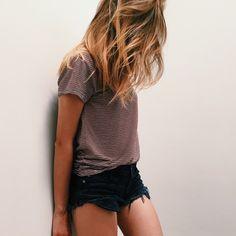stripped tee + black shorts ❁