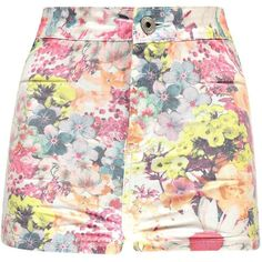Boohoo Fiona Floral High Waisted Denim Shorts ($26) ❤ liked on Polyvore