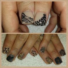 Zebra. Leopard. Cross. Feather. #nails