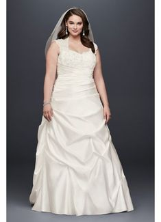 Cap Sleeve Satin A-line Plus Size Wedding Dress 9T3090 #plussizeweddingdresses