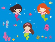 Mermaid Wall Decals - Removable and Reusable!  Bebe Diva