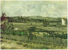 Harvest in Provence, at the Left Montmajour  Vincent van Gogh Watercolor, Watercolour and pen Arles: June, 1888