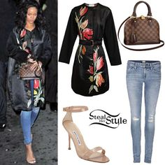 Rihanna: Floral Coat, Ripped Skinny Jeans