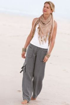 Weekend Linen Pant from Soft Surroundings  < Love the pants and tank but the scarf seems silly, unless it's evening and a breeze might come about, lol.