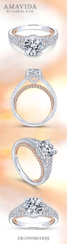 Gabriel & Co.-Voted #1 Most Preferred Fine Jewelry and Bridal Brand. 18k White Gold /Rose Gold Round Halo Engagement Ring.