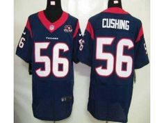 72a1debe2 Nike NFL Elite Texans  56 Brian Cushing Navy Blue Team Color With 10th Patch  Men s