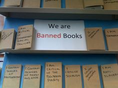 Banned Book Week Display Wanted to give a shout out to my favorite BBW display this year. The photos were sent to us by Emma Crofts, librarian at Strode's College in Surrey, where these books were put on the shelves for patrons to enjoy.