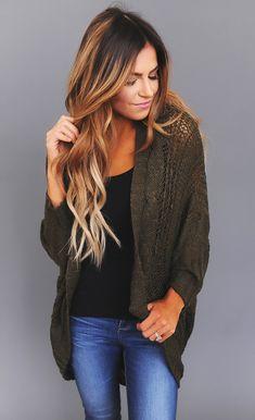 Olive Knit Cardigan - Dottie Couture Boutique