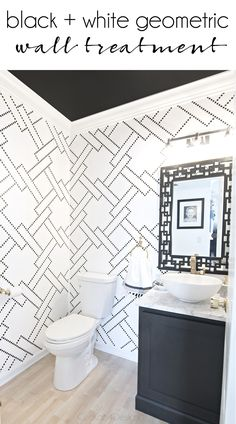 Sharpie stenciled stylish black and white powder room