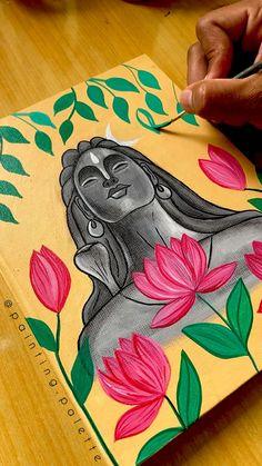 Canvas Painting Tutorials, Acrylic Painting Canvas, Simple Canvas Paintings, Art Painting Gallery, Mini Canvas Art, Art Corner, Indian Art Paintings, Shiva, Krishna