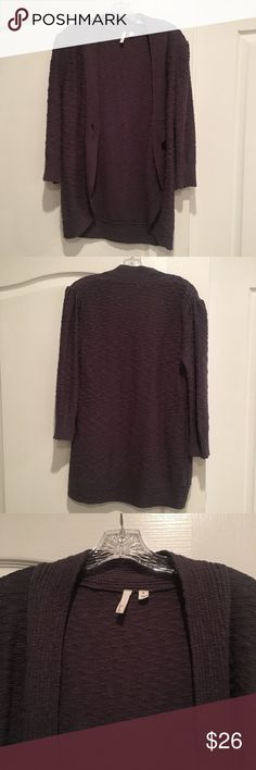 Frenchi Brand Dark Grey Open Cardigan Super cute Open Cardigan with single button closure in front. Ruched shoulder detail. It's more grey than it appears in pics - I think these photos make it look almost plum / purple to me. Size XL but fits more towards Large IMO Nordstrom Sweaters Cardigans