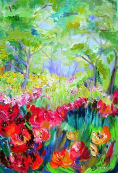Forest Splendor - oil  acrylic by ©Elaine Cory (via Etsy)