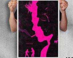 Fight club poster print brad pitt art movie poster black pink alternative movie poster by TotalLost