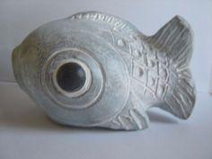 ISABEL BLOOM FISH CONCRETE SCULPTURE FIGURINE SIGNED BY ARTIST